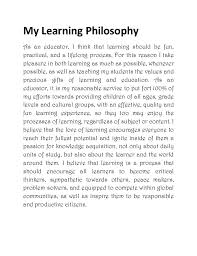 personal philosophy statement of early childhood education how essays sample educational philosophy statement a