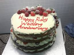 Fresh Cream Ruby Wedding Anniversary Cake Personally Delivered To