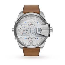 diesel mens leather strap watch dz7374 mens watches watches diesel mens leather strap watch dz7374