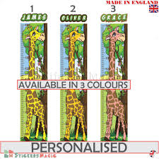 Details About Personalised Childrens Height Chart Measure Wall Sticker Growth Giraffe Decals