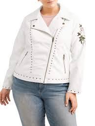 urban retro women s plus size white studded leather jacket with rose com
