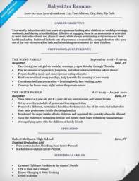 High School Student Cover Letter  Babysitter Resume Example