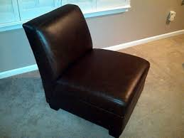 armless leather chairs. Magnificent Armless Leather Chairs With 350 Pottery Barn Trevor Slipper Chair Nutmeg For Sale A