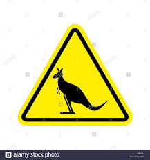 kangaroo warning sign wallaby hazard attention symbol danger road sign yellow triangle australian wild