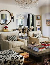 Zoldan Interiors Chic eclectic living room design with tan burlap