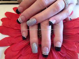 Eye Candy Nails & Training - Acrylic nails with black and silver ...