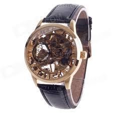 fashionable hand cranking mechanical men s wrist watch black fashionable hand cranking mechanical men s wrist watch black golden