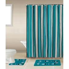 on home dynamix 15 piece bath boutique shower curtain and bath rug set stripes blue