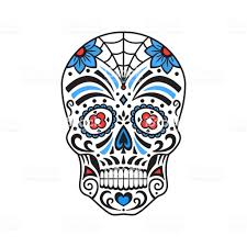 Sugar Skull Colorful Tattoo Mexican Day Of The Dead Vector