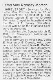 Letho May Ramsey Morton obit - Newspapers.com