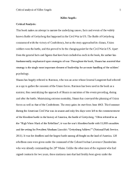 analytical critique of killer angels by michael shaara    analytical critique of killer angels by michael shaara essay example