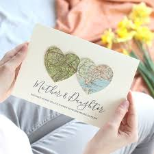 Personalised Map Hearts Mothers Day Card
