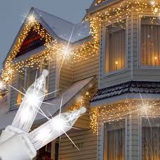 Clear Christmas Lights With Brown Cord Clear Twinkle Icicle Lights White Wire Icicle Christmas