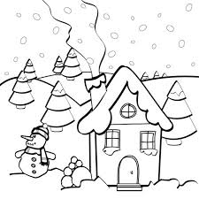 Small Picture Snow Man and Gingerbread House Coloring Page NetArt