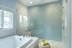 Boy Bathroom with Blue Hex Wall Tiles
