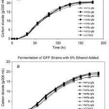 representative growth and fermentation profiles of the hxtp gfp strains strains expressing individual gfp