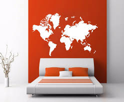 map of decor world map atlas silhouette wall art decal sticker removable vinyl wall