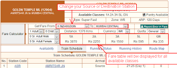 Indian Railway Fare Chart 2018 Help Contents Get Or Calculate Fare For Train