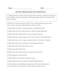 writing prompts worksheets narrative writing prompts worksheets narrative writing prompt list and worksheet