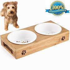 aoxsen small dog and cat pet feeder bamboo elevated wooden pet bowls double bowl pet food