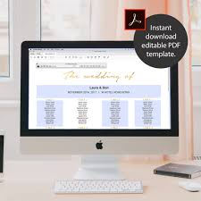 8 Sizes Faux Gold Foil Wedding Seating Chart Template
