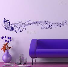 Wall Decor Stickers For Living Room Large Singing Purple Butterfly Wall Stickers Home Decor Art