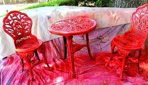 painted red furniture. outdoor furniture rustoleum spray paint bistro set red living painted