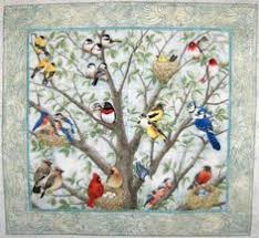 Quilted and Pieced Wall Hanging Attic Window Birds in by MiniMade ... & Beautiful Birds panel Adamdwight.com