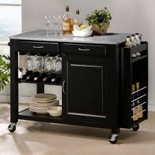 Portable Kitchen Island With Granite Top Kitchen Classy Black Portable Island For Kitchen With Two