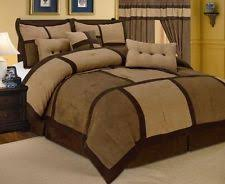 king size comforters on sale. Wonderful King Brown Micro Suede Patchwork Comforter Set King Size 7 Piece On Comforters Sale Z