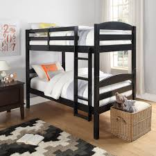 kids black bedroom furniture.  Kids Twin Size Bunk Bed Convertible Wood Ladder Black Finish Kids Bedroom  Furniture To