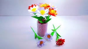 Paper Flower Bouquet In Vase How To Make Paper Flower Easily Paper Flower Vase