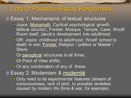 exam one dr thompson english fall lots of possible essay 2 lots of possible essay responses iuml131156 essay 1 mechanisms of textual structures joyce monomyth cyclical psychological growth biblical structur