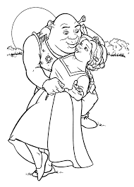 Small Picture Shrek and Fiona coloring pages for kids printable free couples