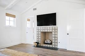 black and white mosaic fireplace tiles