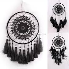 black crochet lace flower wind chimes dreamcatcher with net feather tassels india vintage handmade dream catcher creative car hanging party wind chimes