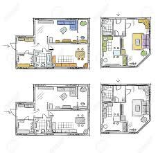 floor plan furniture vector. Apartment Plan With Furniture, Vector Sketch Stock - 59921106 Floor Furniture C