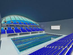 Indoor Olympic Swimming Pool Arena With Blue Seats Stock