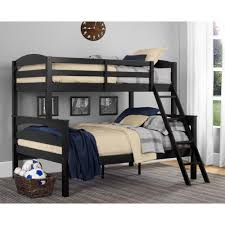 dorel living brady twin over full black wood bunk bed fa6940bk the home depot