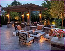 Sparkling Architectural Lighting With Square Shaped Stone Fire Pit