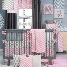 stylish pink and gray nursery bedding