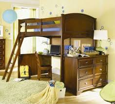 image of wooden bunk bed with desk and drawers