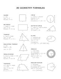 Math Formula Chart For Geometry Basic Geometric Formulae 1 Geometry Formulas Basic