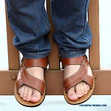 middle aged men s leather sandals breathable open toe beach shoes more images 4