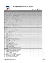 2 Year Old Developmental Milestones Chart Developmental Checklist For Two Years Olds Page 2 Of 3