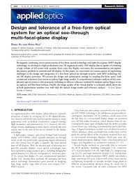 Pdf Design And Tolerance Of A Free Form Optical System For