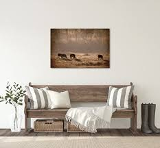 modern farmhouse wall decor cow print