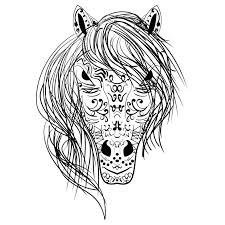 coloring book horse head black and white sketch zen tangle stock vector ilration of magic pages flowers