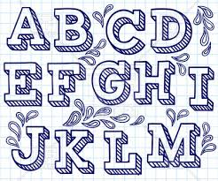 Letters In Design Hand Drawn Font Shaded Letters And Decorations Stock Vector Image