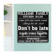 personalized kitchen rules canvas print